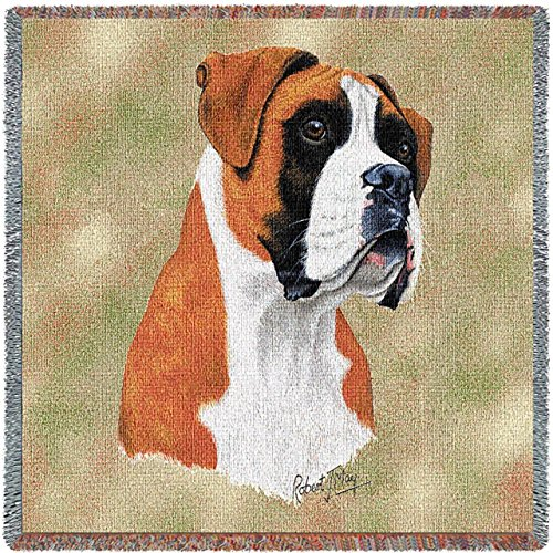 Pure Country 1125-LS Boxer Pet Blanket, Canine on Beige Background, 54 by 54-Inch (Throw Blanket Boxer)
