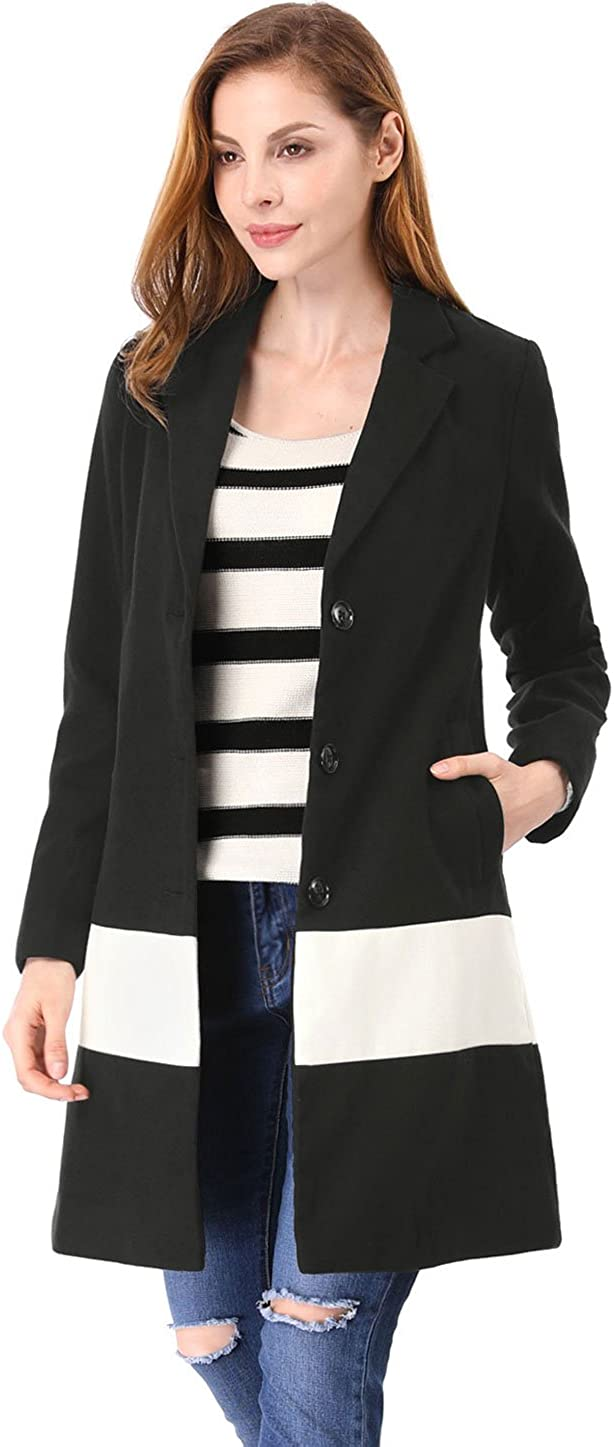 Allegra K Women's Contrast Color Notched Lapel Single Breasted Coat