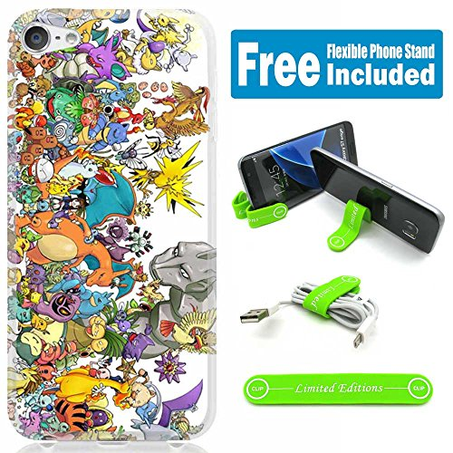 [Ashely Cases] Apple iPod Touch 5th/6th Generation Cover Case Skin with Flexible Phone Stand - Pokemon Manymonsters - Ipod Touch Pokemon Case