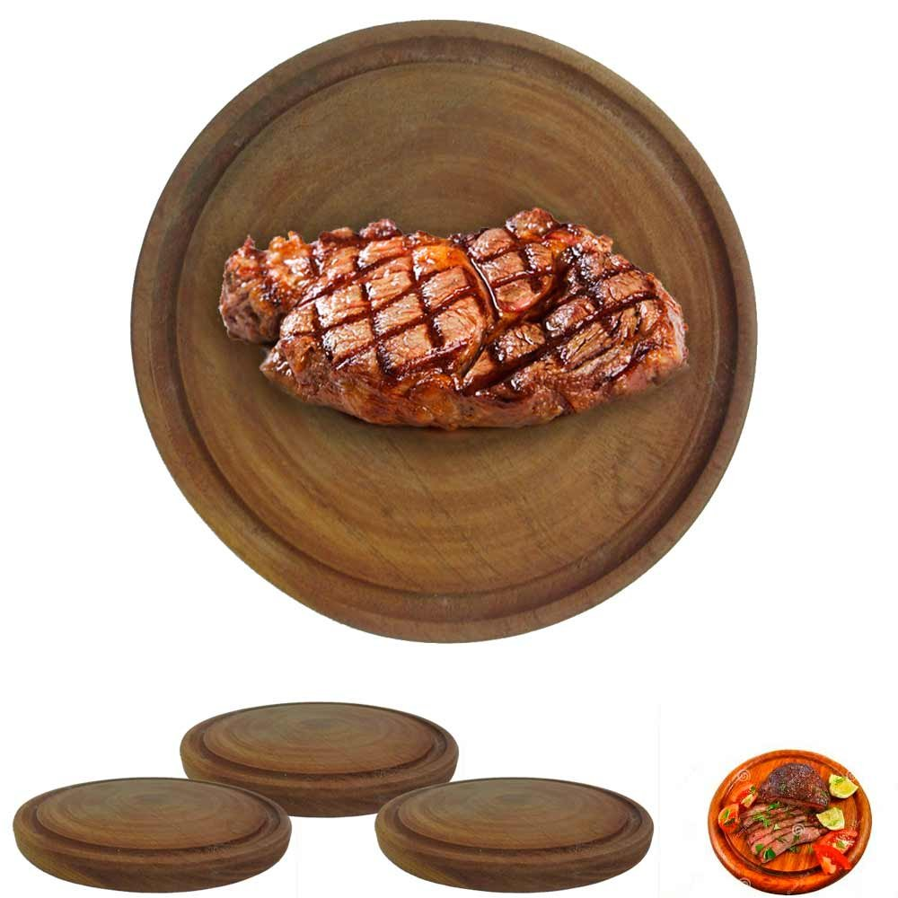 3 Plates Argentina Asado BBQ Cheese Food Serving Beef Meat Algarrobo Wood 8''