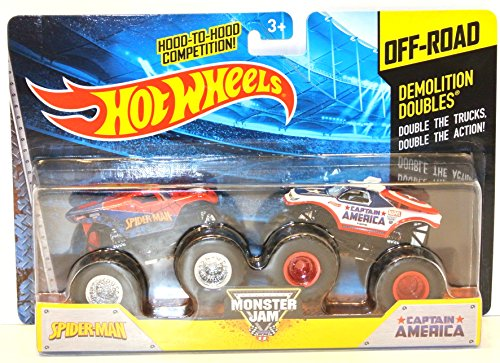 2014 Hot Wheels Off-Road Monster Jam Demolition Doubles SpiderMan & Captain America
