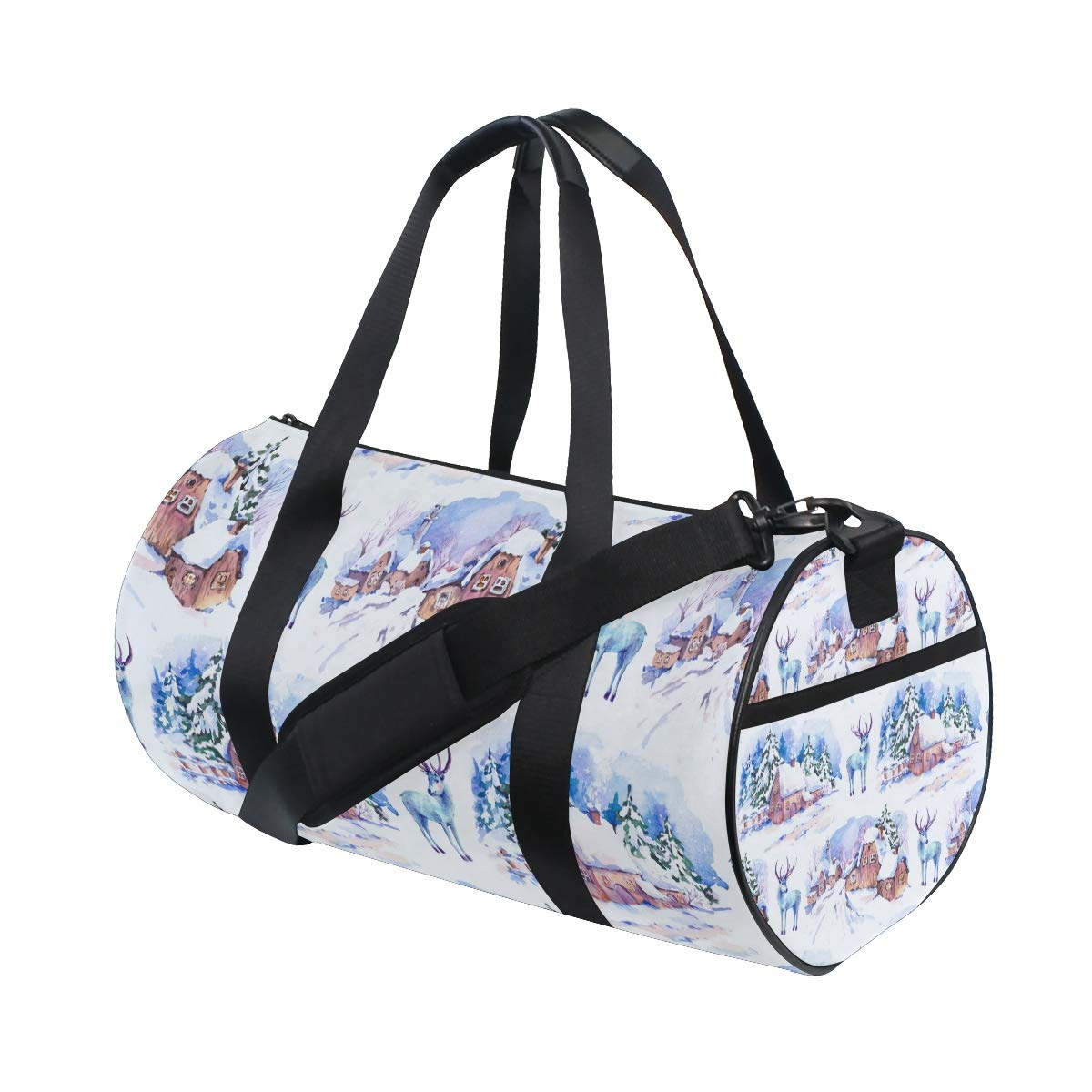 Deer Yoga Sports Gym Duffle Bags Tote Sling Travel Bag Patterned Canvas with Pocket and Zipper For Men Women Bag