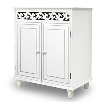 White Wooden Cupboard Cabinet Sideboard 2 Doors Furniture Freestanding Part 70