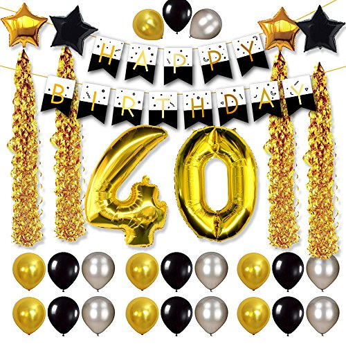 FRIDAY NIGHT 40th Birthday Decorations And Celebration Party Supplies With Balloon Banner