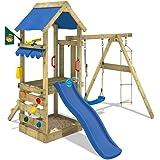WICKEY Aire de jeux FreshFlyer avec balançoire et toboggan Plateforme à la hauteur de 90cm Portique de jeux en bois