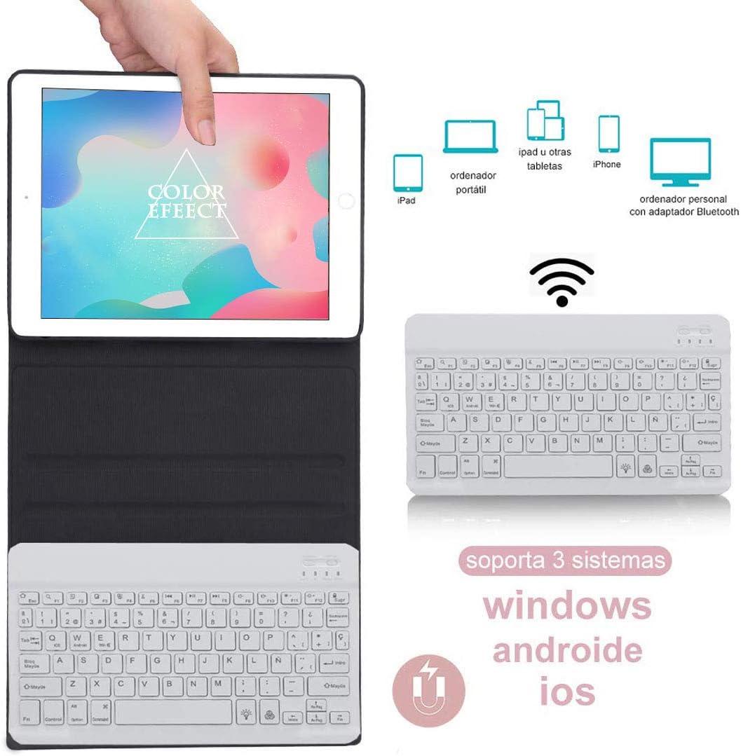 DINGRICH Teclado con Funda para iPad 9.7 2018,Español Ñ Teclado Bluetooth Inalámbrico 7 Color Retroiluminado para iPad Air 2/iPad Air/iPad 2018(6th ...