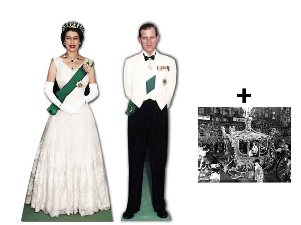 *COMMEMORATIVE DOUBLE PACK* - QUEEN ELIZABETH II AND PRINCE PHILIP - LIFESIZE CARDBOARD CUTOUT (STANDEE / STANDUP) SET - BRITISH DIAMOND JUBILEE 2012 - INCLUDES 8X10 (25X20CM) STAR PHOTO - FAN PACK #228 by Starstills UK Celebrity Fan Packs
