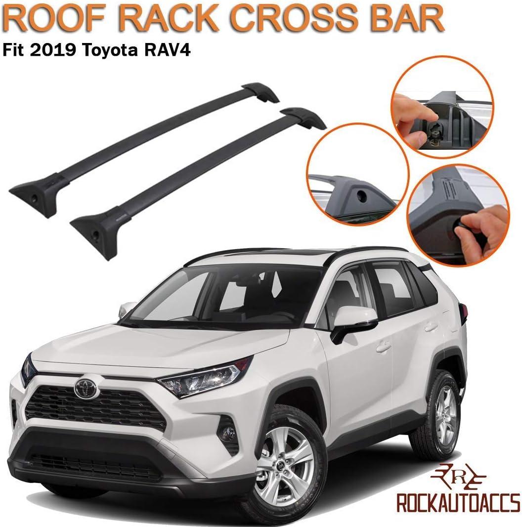 ROKIOTOEX Roof Rack Crossbars fits 2019 Toyota RAV4 Trail Adventure Factory Roof Rails Black Aluminum