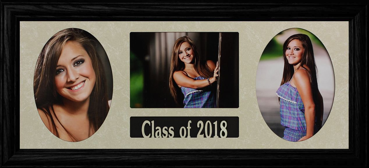 8x20 Class of 2018 GRADUATE COLLAGE ~ Holds 3-5''x7'' Photos ~ BLACK Frame GRADUATION GIFT