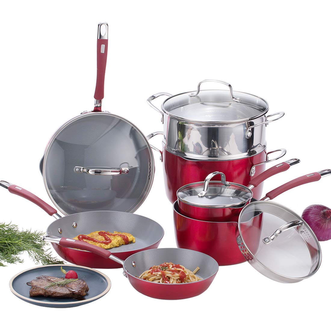 Momscook Aluminum Nonstick Ceramic Coating Cookware Set with Three Nonstick-Suitable Nylon Cooking Tools, 14-Piece, Cranberry Red by Momscook (Image #1)