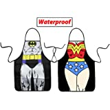 VIPbuy Set of 2 Pcs Waterproof Comic Super Hero Character Batman + Wonder Woman Aprons , Funny Men & Woman Kitchen BBQ Aprons for Couple Novelty Gifts