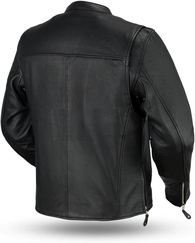 Clean Cafe Style Mens Leather Jacket - Ace Black, Medium First MFG Co