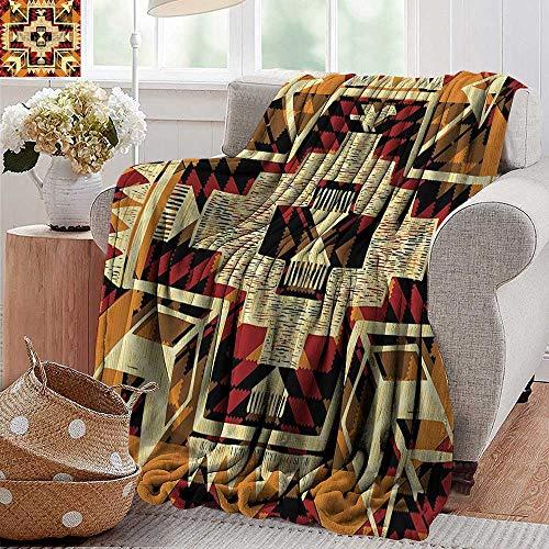 PearlRolan Flannel Blanket,Arrow Decor,Native American Inspired Retro Aztec Pattern Mod Graphic Design Boho Chic Art Print,Cream Merigold,Extra Cozy, Machine Washable, Comfortable Home Decor 60