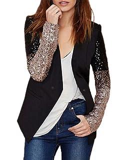 dressforfun 900995 Damen Pailletten Blazer Diverse Gr/ö/ßen - Gold S | Nr. 303846 Langarm Glitzer Jackett