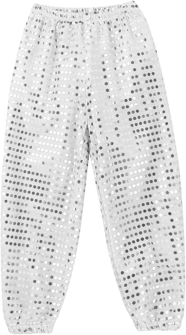 inlzdz Kids Girls Boys Sequins Harem Hip-hop Jazz Modern Dance Pants Performance Costume Street Dance Wear Trousers Outfits