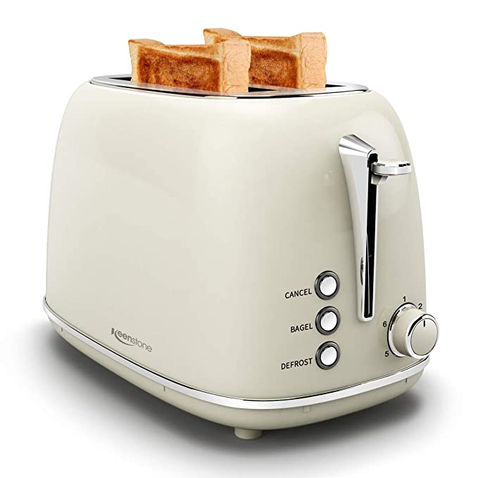 Toasters 2 Slice Stainless Steel Toasters with Bagel, Cancel, Defrost Function and 6 Bread Shade Settings Bagel Toaster, Cream best toasters