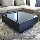 オークブラック × ガラス センターテーブル GS-BOXY GLASS TABLE 80角 正方形 国産 日本製 新進 デザイナーズ 木製 コーヒーテーブル リビングテーブル 両側引き出し 収納 棚付き 北欧 モダン