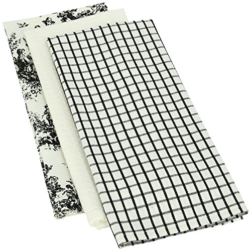 Mahogany Toile Kitchen Towel, 18 by 28-Inch, Black, Set of 3 (Dishes Toile)