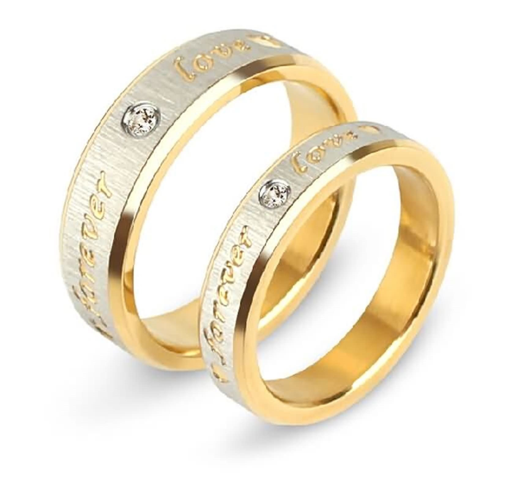 Daesar 1PCS Couple Rings Stainless Steel Ring Engraving Forever Love 1PCS White Cubic Zirconia Wedding Ring Gold and Silver Ring Size 11