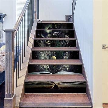 XIN Pegatinas de escalera Pegatinas de escalera Adhesivo Escalier Escaleras Papel pintado 3D Etiqueta de la pared Decoración para el hogar Decoración de Halloween: Amazon.es: Bricolaje y herramientas