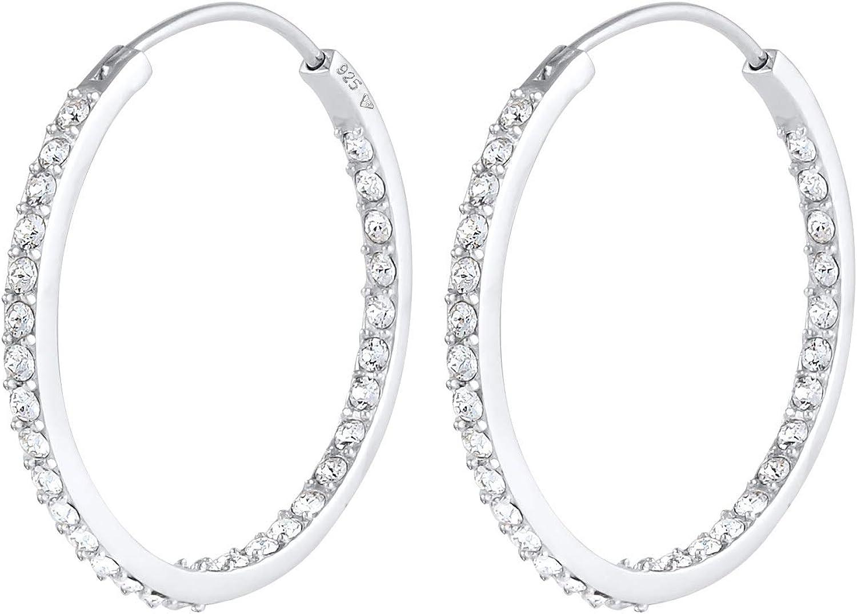 Elli Pendientes Criollos para mujer con brillantes cristales Swarovski® en plata de ley 925