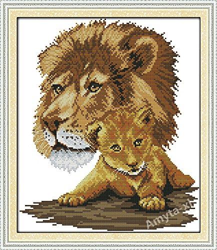 Palo Einzigeartige de punto de cruz de león de la madre y el niño sin necesidad