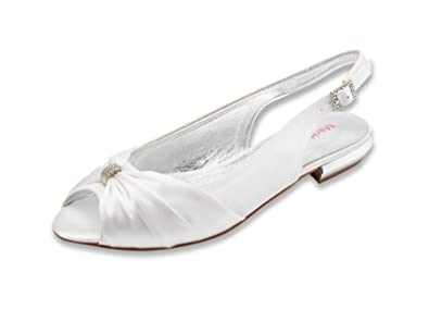 MarHermoso Womens Peep Toe Flat Slingbacks Wedding Sandals  Amazon ...