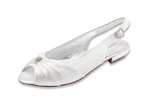 bb92cddac4a48e MarHermoso Womens Peep Toe Flat Slingbacks Wedding Sandals  Amazon.co.uk   Shoes   Bags