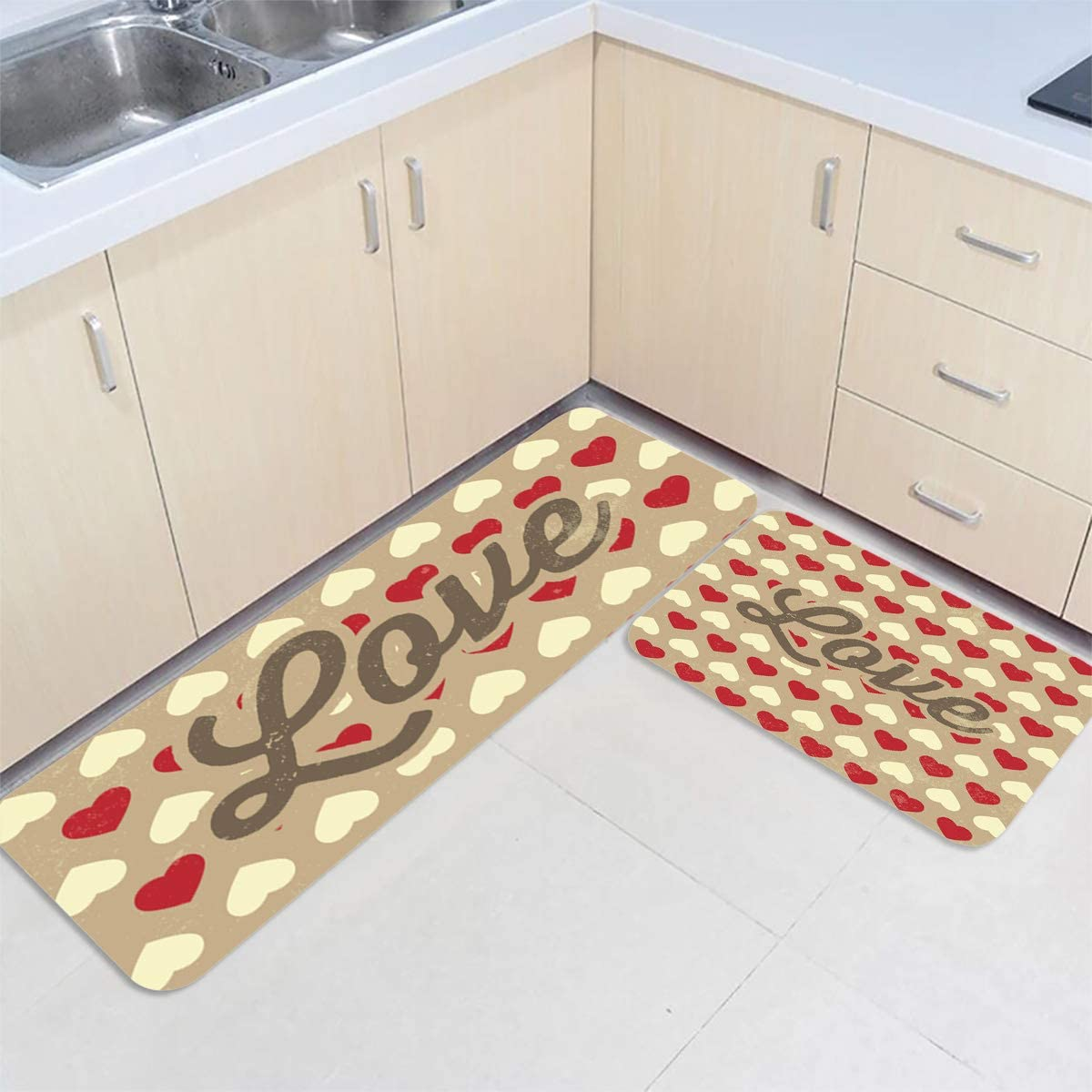 Amazon Com Kitchen Rug Set Valentine S Day Love Beige And Red Hearts 2pc Set Non Slid Accent Throw Rugs Runner For Entryway Living Room Bedroom Floor Mats 20 X31 5 20 X63 Home Kitchen
