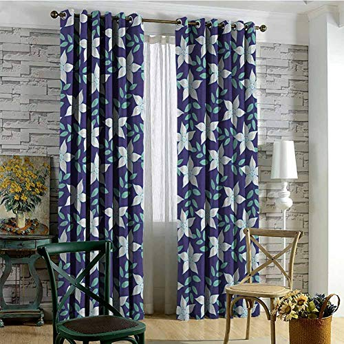 Grommet Creative Blackout Curtains Indigo Hawaiian Island Spring Summer Time Flowers Buds Leaves Image Bedroom Patio Sliding Door Navy Blue Fern Green and White W108 xL84 (Best Time To Visit Kings Island)