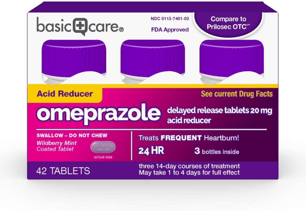 Amazon Basic Care Omeprazole Delayed Release Tablets 20 mg, Acid Reducer, Wildberry Mint Coated Tablet, 42 Count
