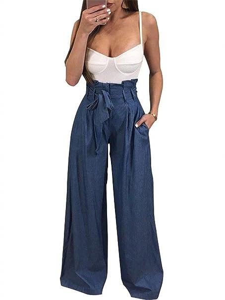 8c353b9cfabbf BOLAWOO Pantalon Anchos Mujer Primavera Otoño Elegantes Casual Pants Mode De  Marca Color Sólido Pantalones De Tiempo Libre con Cinturón Cintura Alta  Golpear ...