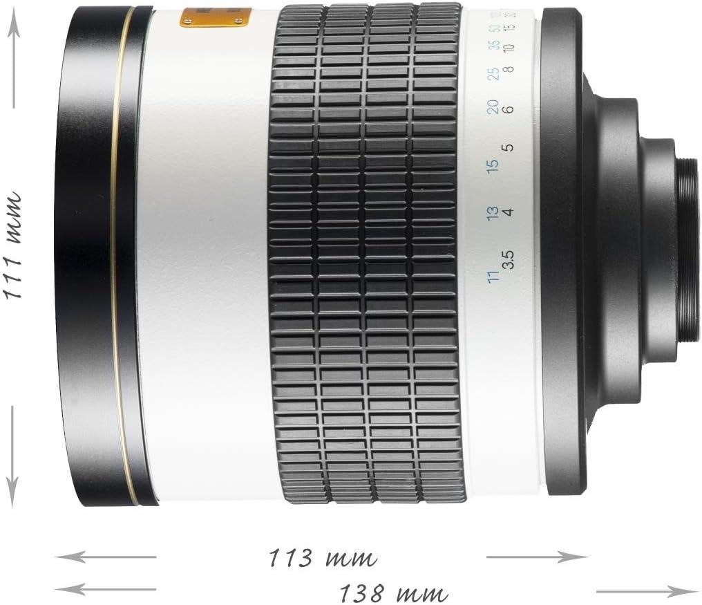Objetivo CSC para r/éflex 800 mm Rosca de Filtro de 35 mm 1:8,0 Compatible con Montura Canon EOS M Walimex Pro Color Blanco