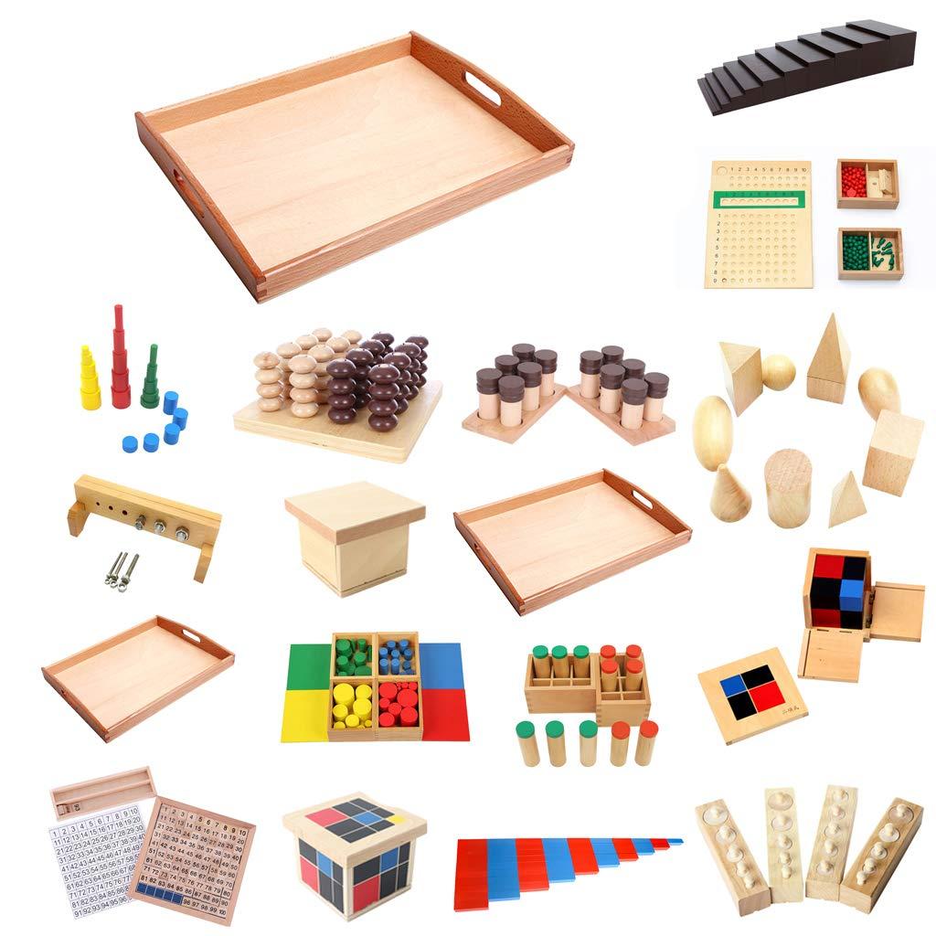 MagiDeal 2 x Montessori Rectangle Plateau en Bois Cube Perle Jouets Support avec Poign/ée S et M