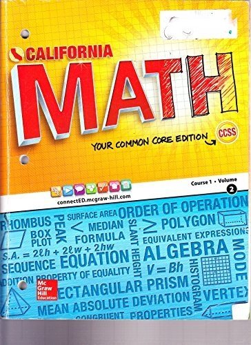 CA Math Your Common Core Edition Course 1 Volume 2