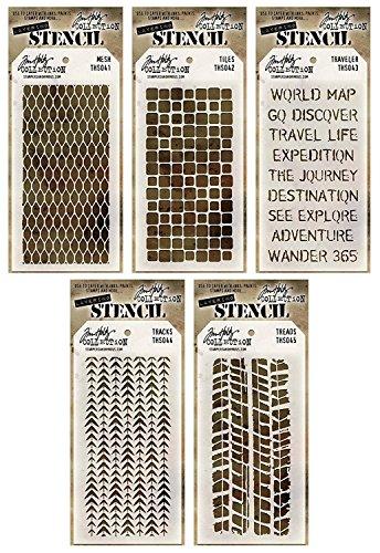 Tim Holtz - Stencils Set 3 - Five Item Bundle - Mesh, Tiles, Travelers, Tracks, and Treads