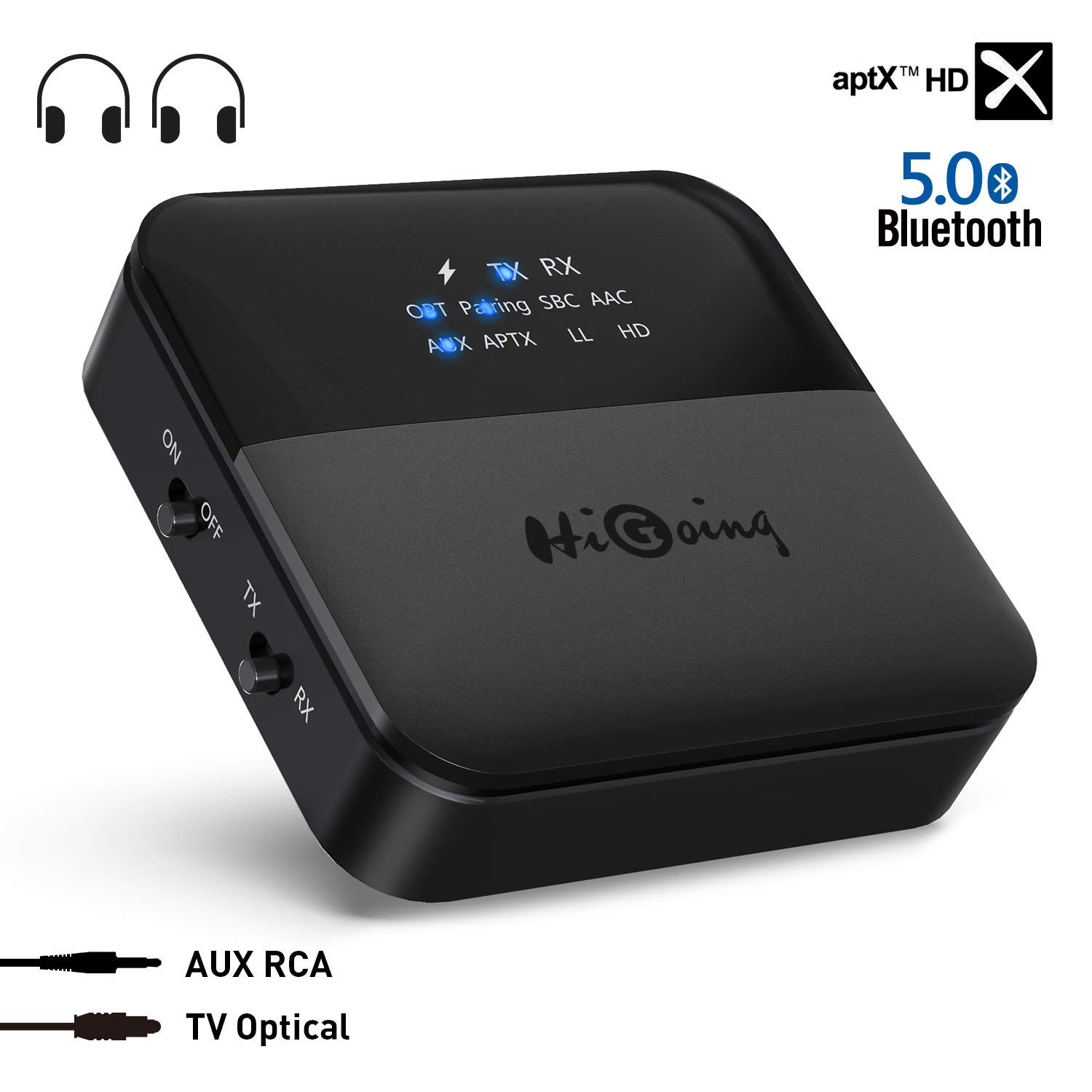 d9924596195 HiGoing Bluetooth 5.0 Transmitter Receiver with Indicator Display, Digital  Optical TOSLINK and 3.5mm Wireless Audio Adapter, aptX HD, aptX LL, Low ...