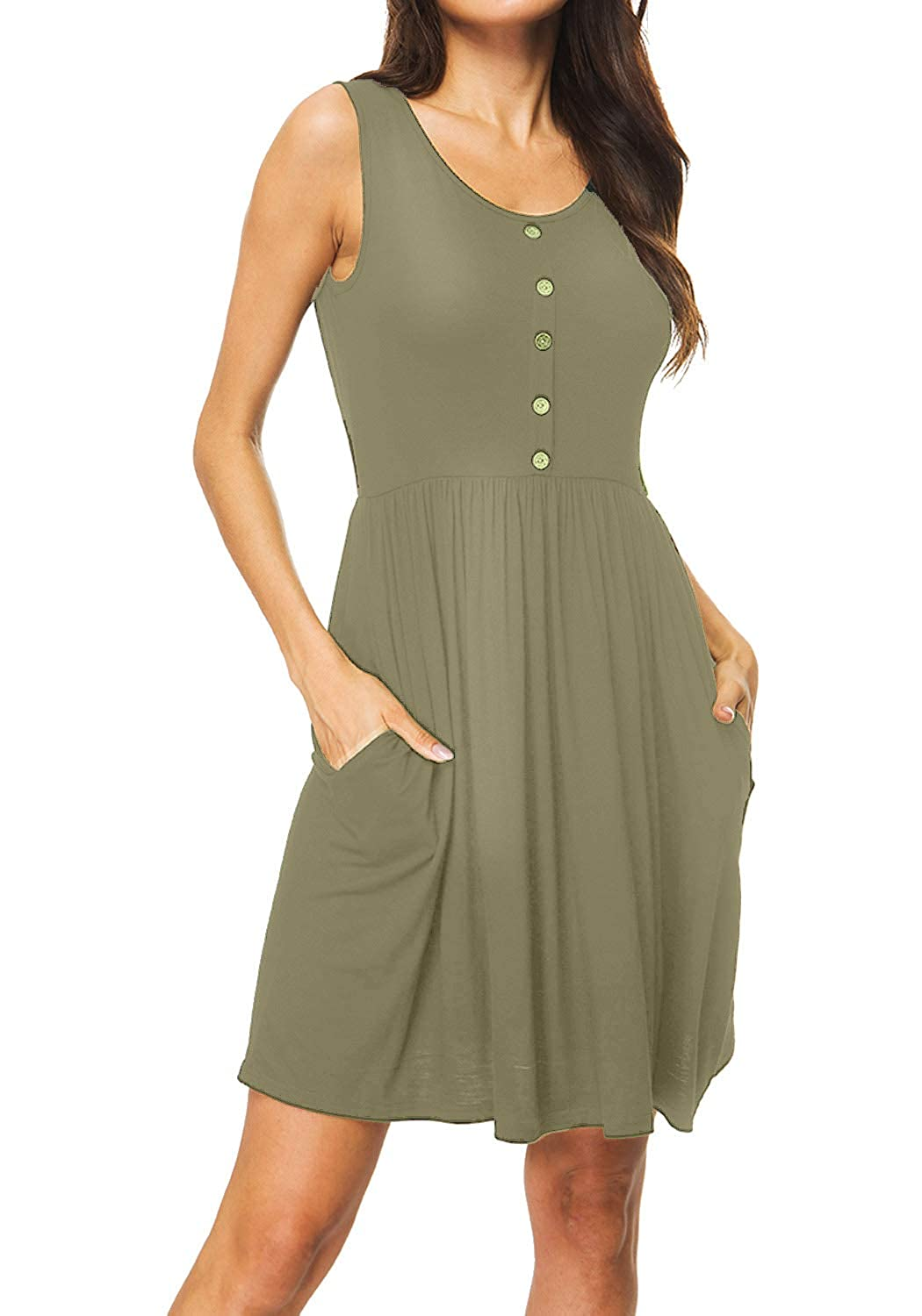 SouqFone Womens Loose Casual Dresses Pleated Swing Dress with Pockets Knee Length