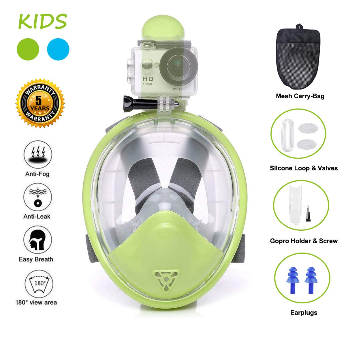 Ufanore Full Face Snorkel Mask, Snorkeling Mask for Kids with Detachable Camera Mount, Foldable 180° Panoramic View, Free Breathing, Anti-Fog and Anti-Leak by Ufanore