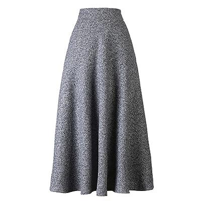 BABUBALA Pretty Women's High Waist A-line Flared Long Skirt Winter Fall Midi Skirt