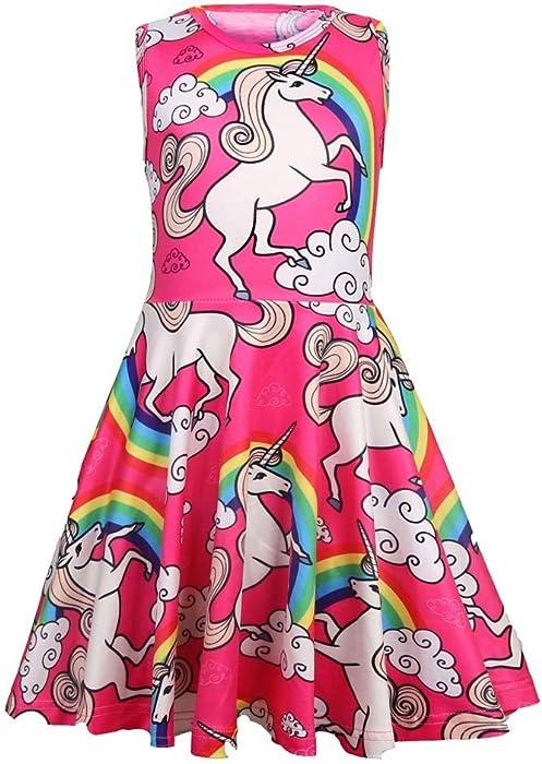 598bb235502 Amazon.com  Summer Dresses for Girls Unicorn Casual Dress  Clothing