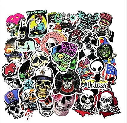 Terror Rock Sticker Pack Skeleton Dark Skull Random Style Stickers para Laptop Nevera Bicicleta Teléfono Guitarra Toy Stickers 25Pcs: Amazon.es: Coche y moto