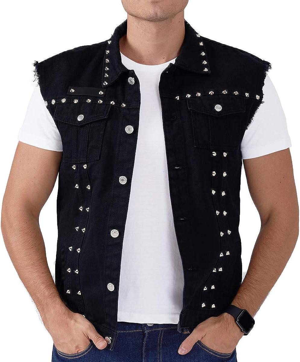 Mens Black Punk Denim Vest Distressed Spike Sleeveless Jacket, 2 Slant Pockets