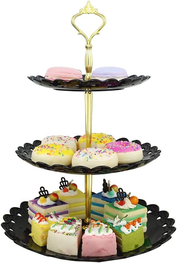 LIONWEI LIONWELI 3-Tier Black Gold Plastic Dessert Stand Pastry Stand Cake Stand Cupcake Stand Holder Serving Platter for Party Wedding Home Decor-Large