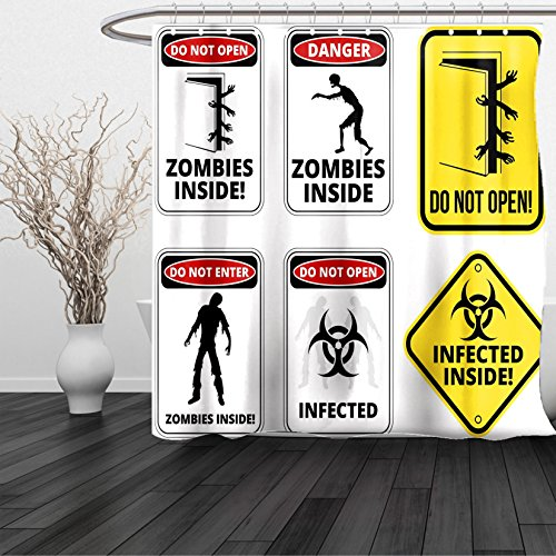 HAIXIA Shower Curtain Zombie Warning Signs for Evil Creatures Paranormal Construction Do Not Open Artwork Multicolor by HAIXIA