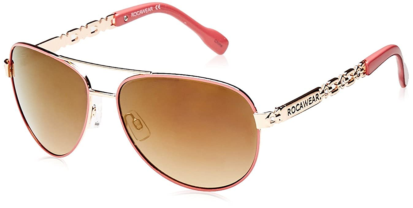 Rocawear Womens R571 RGDCR Aviator Sunglasses, Rose Gold & Coral, 60 mm