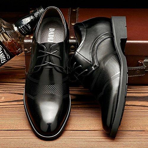 Chaussures semelle Cuir Taller Lace Hauteur Classiques 6cm D'ascenseur Pu Hommes En Business Feinianjsh Up Noir Croissante Amovible Intérieure Oxfords ZpfOWnqxx