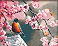 CaptainCrafts New Paint by Number Kits - Peach Flower Bird 16x20 inch Frameless - Diy Painting by Numbers for Adults Beginner Kids
