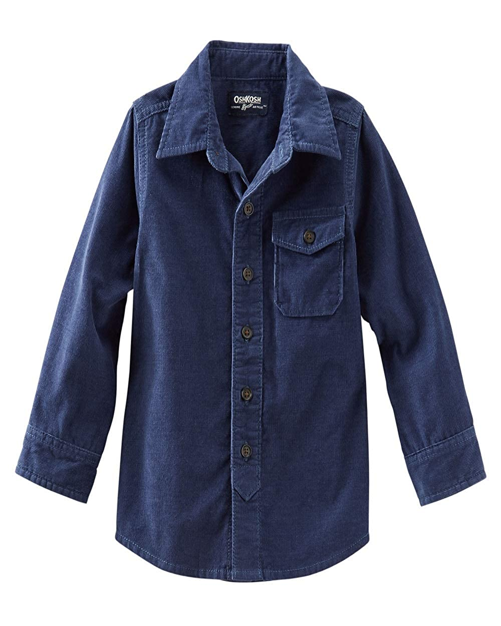 OshKosh Bgosh Button Front Corduroy Shirt Navy Blue 7 Youth