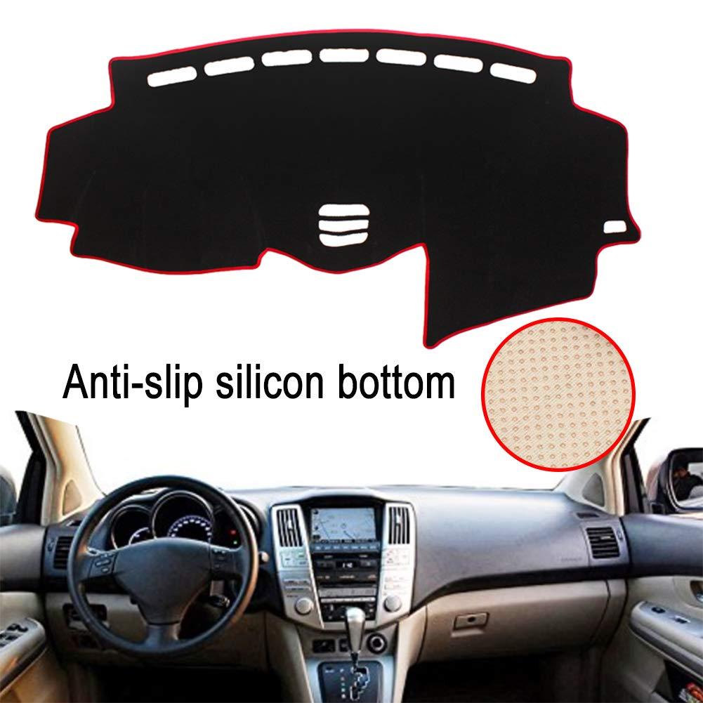 Clidr Anti-Slip Silicon Bottom Dashboard Cover for Lexus RX 300 330 350 2004-2009 Dash Cover Mat Black Edge